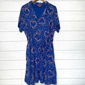ModCloth | Short Sleeve Blue MIDI Dress w/ Hearts